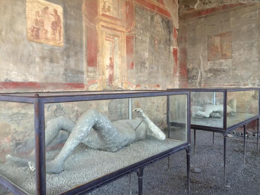 This image speaks for itself. In this square was a large commercial center where merchants would advertise their products through painted frescoes on the walls. These were actual people who were frozen instantly by the volcanic ash following Mount Vesuvius' eruption.
