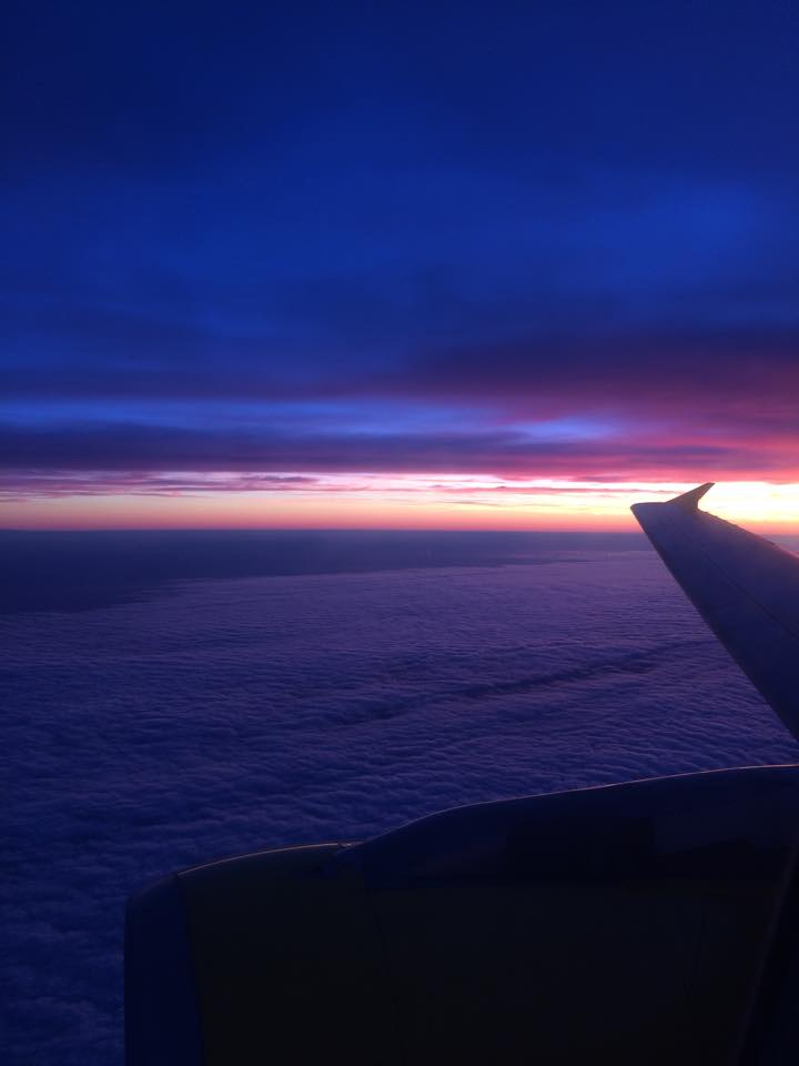 The beautiful sunset on the plane ride to Rome, leaving Paris.