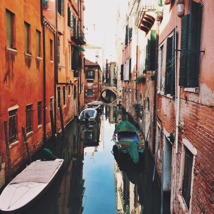 The breathtaking, perfectly sculpted narrow waterways between apartments in Venice.