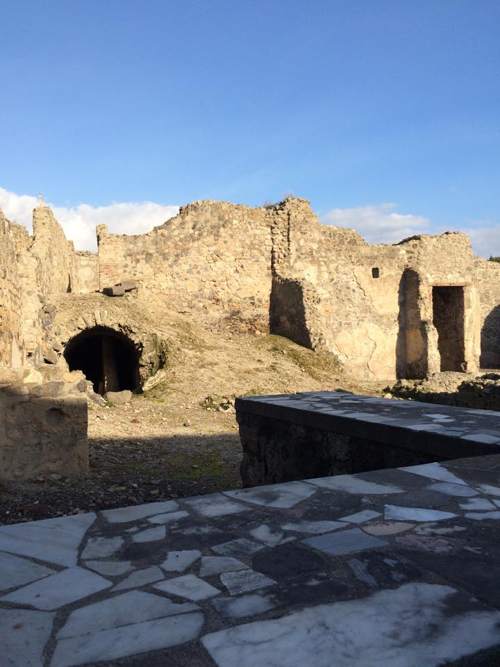 """The remains of a bar and oven which were the equivalent of a restaurant. These types of """"buildings"""" were scattered all along Pompeii."""