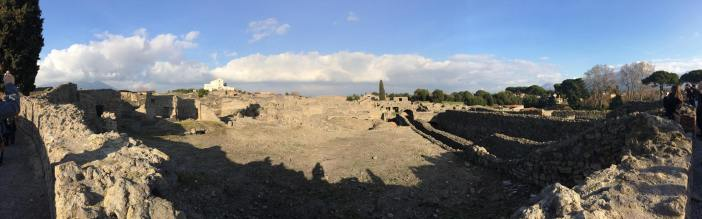 A panorama of part of the city, with Vesuvius in the background. Click to zoom in.