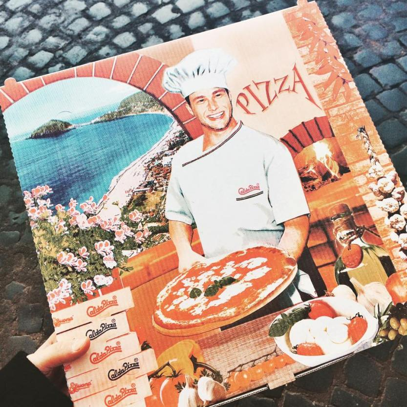 The cutest pizza box from my lunch in Rome.