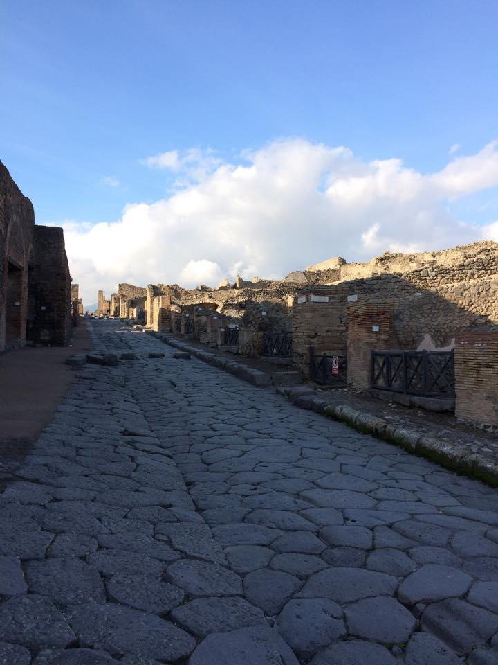 This is the main street in Pompeii. Alongside the streets, merchants would sell food, clothes, and goods to locals and visitors.
